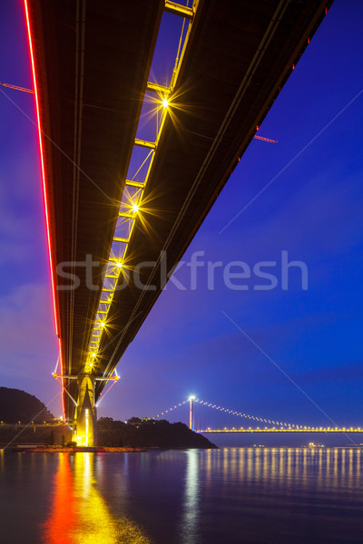 Bottom view of the suspension bridge Stock photo © leungchopan