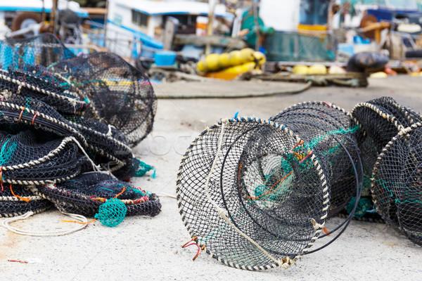 Net traps for seafood Stock photo © leungchopan