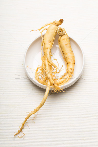 свежие женьшень чаши продовольствие белый Азии Сток-фото © leungchopan
