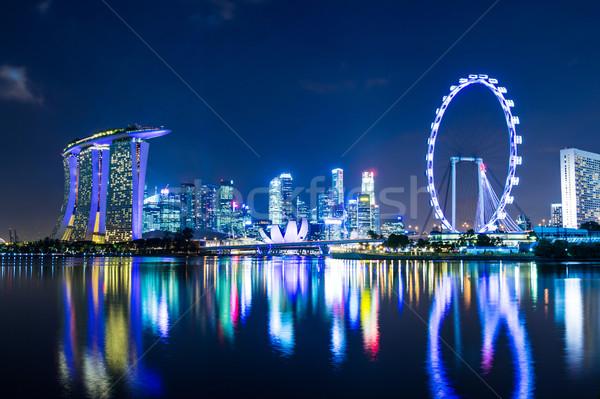 Stockfoto: Singapore · nacht · hemel · kantoor · licht · skyline