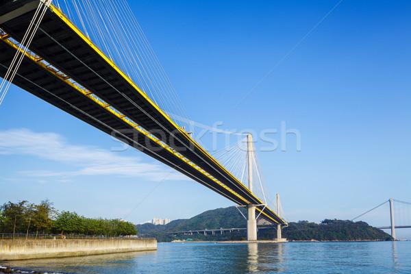 висячий мост Гонконг синий моста побережье день Сток-фото © leungchopan