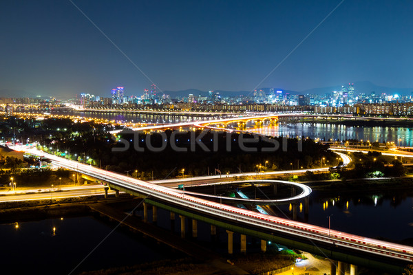 Expressway in Seoul at night Stock photo © leungchopan