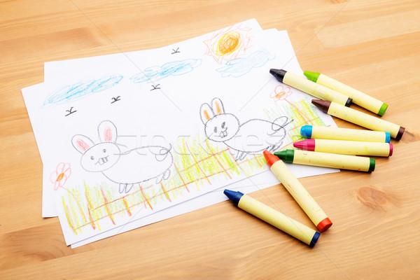 Kinderen tekening ester vakantie Pasen voorjaar Stockfoto © leungchopan