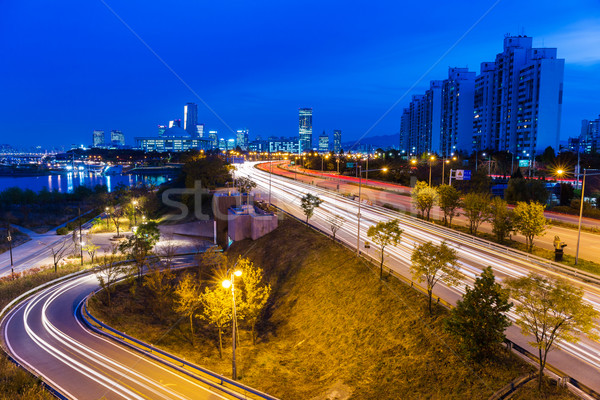 Urban city and busy traffic in Seoul Stock photo © leungchopan