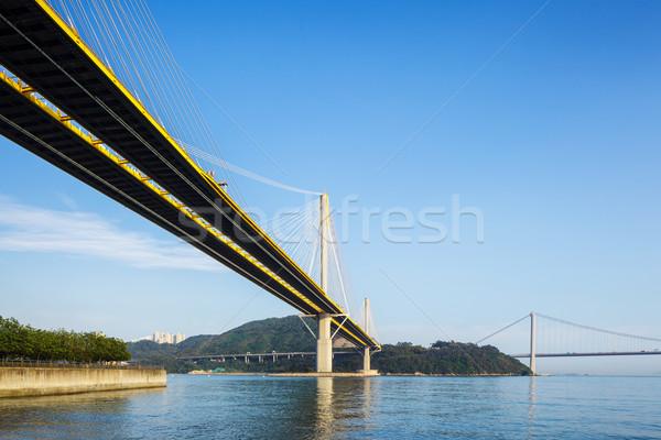 Hangbrug business gebouw bouw landschap brug Stockfoto © leungchopan
