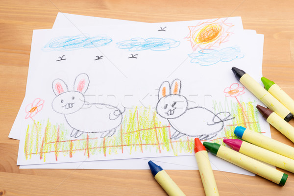 Child drawing for easter holiday Stock photo © leungchopan
