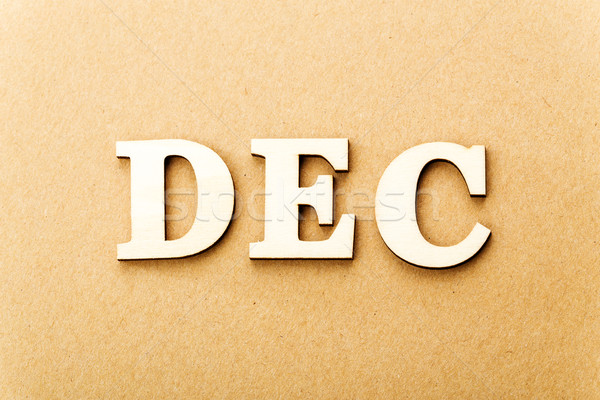 Houten tekst december papier textuur achtergrond Stockfoto © leungchopan