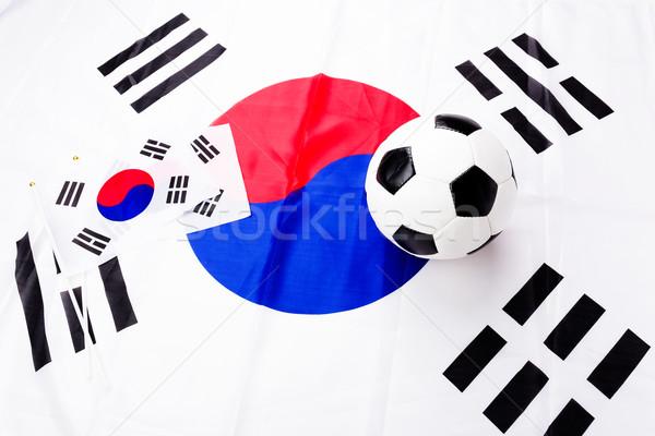 Football and South Korean flag Stock photo © leungchopan