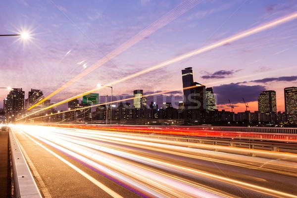 Zajęty ruchu nowoczesne miasta drogowego autostrady Zdjęcia stock © leungchopan