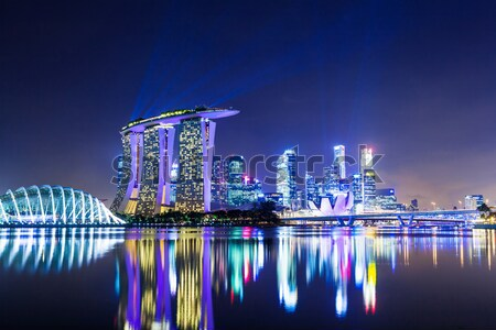 Singapore stadsgezicht nacht hemel kantoor gebouw Stockfoto © leungchopan