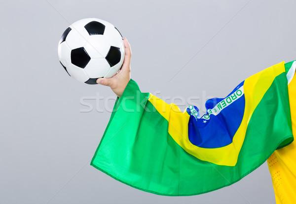 Strony podstaw piłka nożna Brazylia banderą człowiek Zdjęcia stock © leungchopan