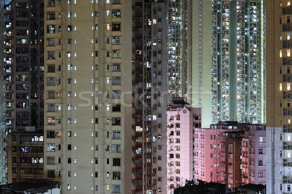 Zatłoczony budynków Hongkong działalności biuro budynku Zdjęcia stock © leungchopan