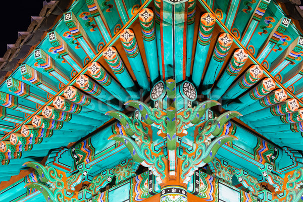 Traditional paintwork on wooden buildings, dancheong Stock photo © leungchopan