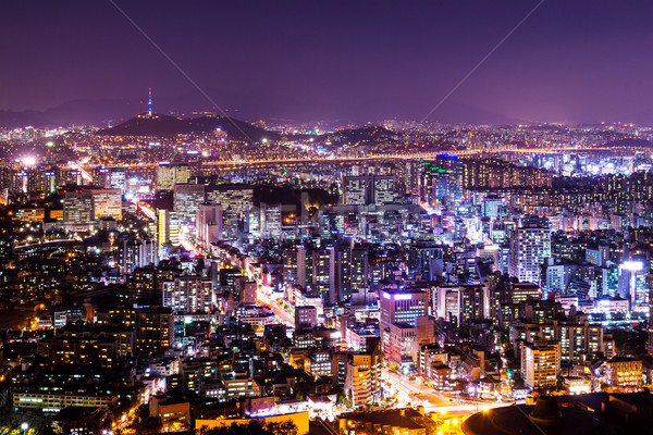 Cityscape Seul noite edifício montanha urbano Foto stock © leungchopan