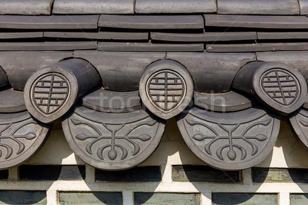 Tetto tradizionale costruzione legno costruzione muro Foto d'archivio © leungchopan