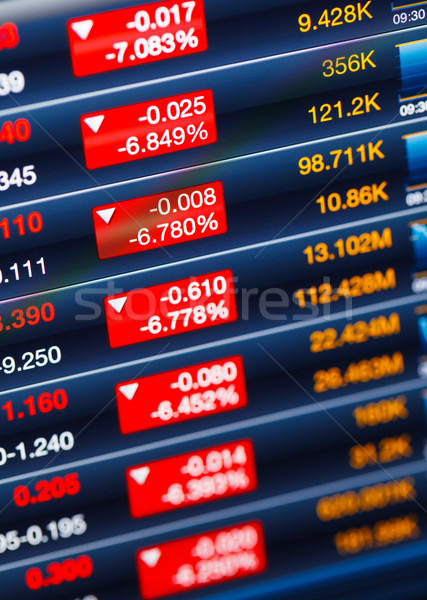 Recesszió tőzsde világ monitor képernyő piros Stock fotó © leungchopan