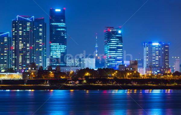 Seul linha do horizonte noite edifício cidade paisagem Foto stock © leungchopan