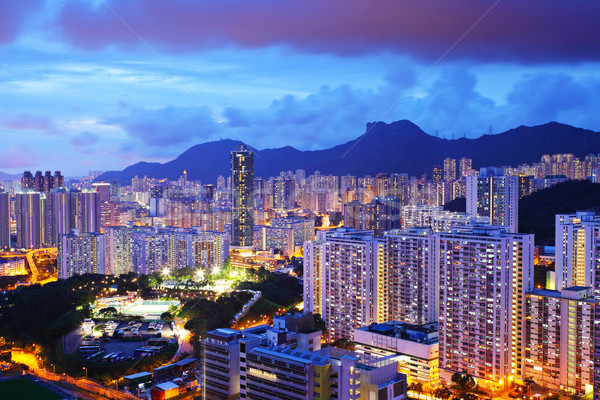 Cityscape with mt. Lion Rock in Hong Kong Stock photo © leungchopan