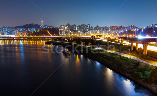 Seul noite da cidade céu água cidade mar Foto stock © leungchopan