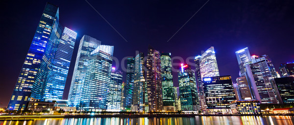 Stadsgezicht Singapore nacht reizen gebouwen stedelijke Stockfoto © leungchopan