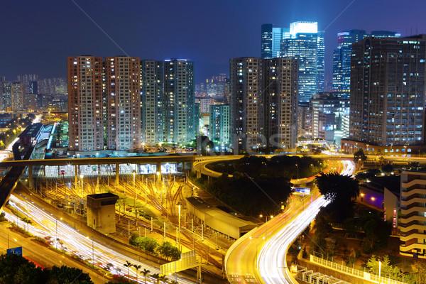 современных ночному городу небе автомобилей дороги свет Сток-фото © leungchopan