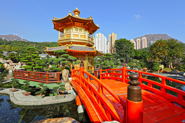 gold pavilion in chinese garden Stock photo © leungchopan