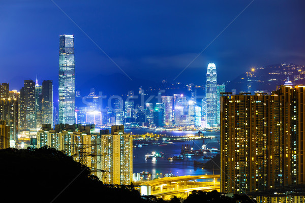 Stok fotoğraf: Hong · Kong · ufuk · çizgisi · gece · ofis · gökdelen · Cityscape