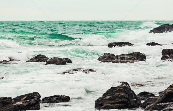 Zeegezicht strand water zand steen tropische Stockfoto © leungchopan