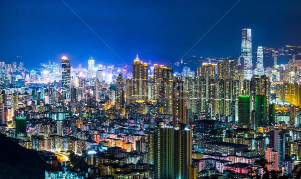 Urbanas ciudad Hong Kong noche casa aves Foto stock © leungchopan