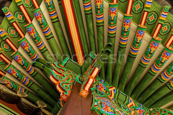 Tradycyjny architektury trawy drewna niebieski wzór Zdjęcia stock © leungchopan