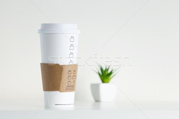 Fehér papír csésze zöld cserepes növény étel Stock fotó © leungchopan