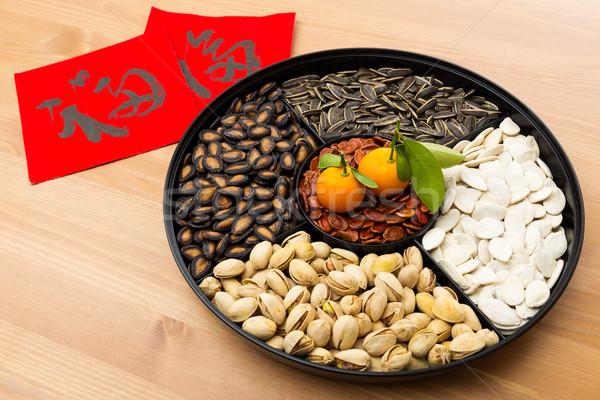 Kínai új év falatozó tálca kínai kalligráfia jelentés Stock fotó © leungchopan