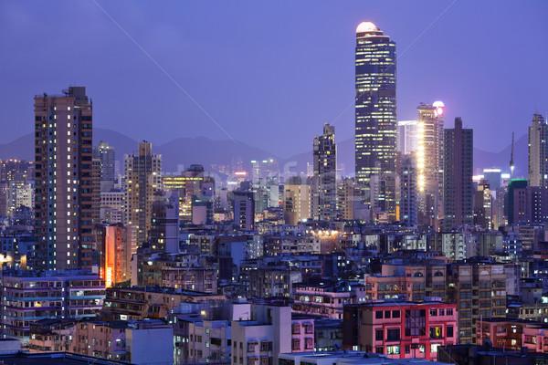 Hong Kong with crowded buildings at night Stock photo © leungchopan