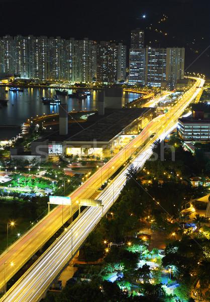 Photo stock: Autoroute · nuit · modernes · ville · voiture · route