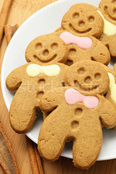 Gingerbread man Noël alimentaire vie souriant sweet Photo stock © leungchopan
