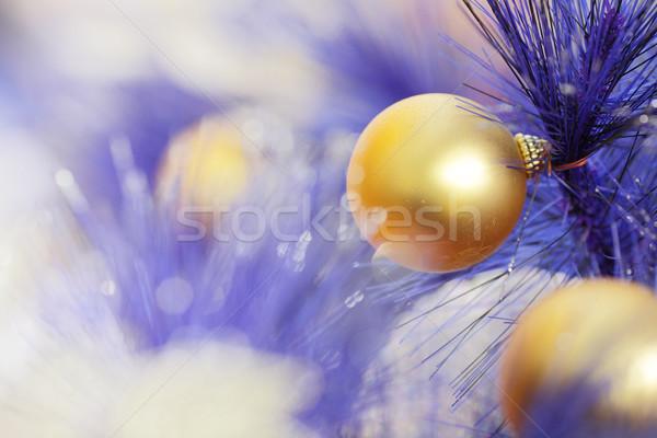 Рождества мяча синий цвета рождественская елка ткань Сток-фото © leungchopan