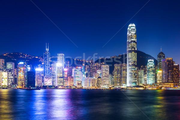 Stok fotoğraf: Hong · Kong · gece · gökyüzü · ofis · Bina · seyahat