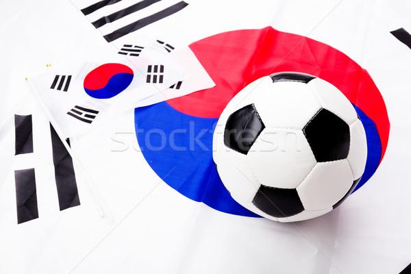 Soccer ball and South Korean flag Stock photo © leungchopan