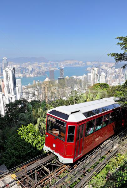Hong Kong tram albero montagna treno Foto d'archivio © leungchopan
