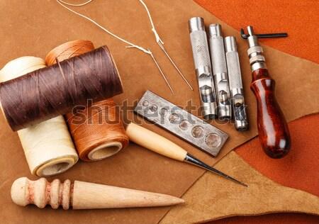 Homemade leather craft equipment Stock photo © leungchopan