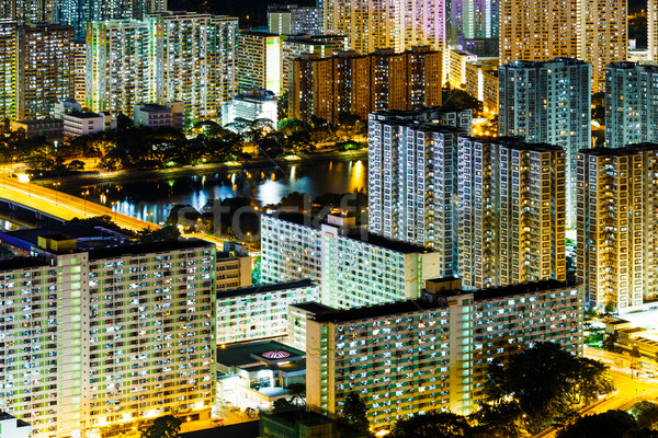 Sha Tin district in Hong Kong at night Stock photo © leungchopan