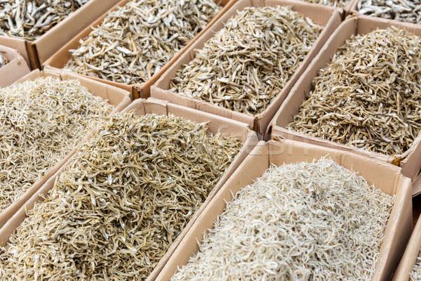 Kurutulmuş tuzlu balık gıda pazar kâğıt Stok fotoğraf © leungchopan