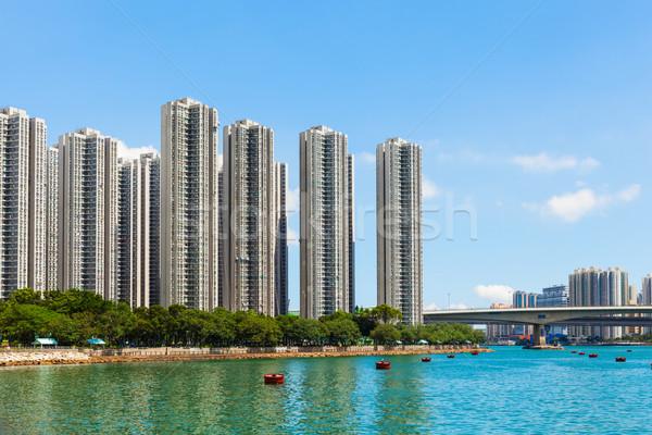 Residencial edificio Hong Kong mar horizonte arquitectura Foto stock © leungchopan