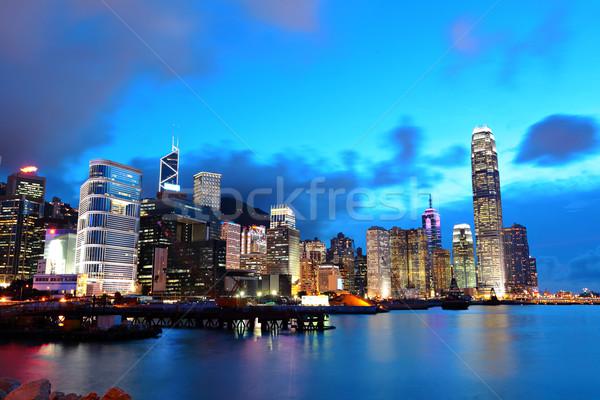 Hongkong noc działalności biuro budynku miasta Zdjęcia stock © leungchopan