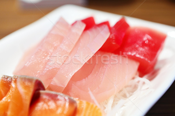 Sashimi balık yağ Japon havuç pirinç Stok fotoğraf © leungchopan