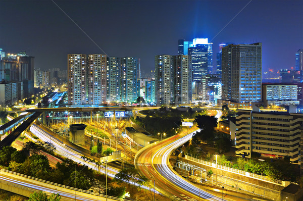 современных ночному городу бизнеса свет улице моста Сток-фото © leungchopan