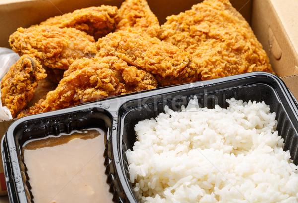 Frango assado caixa peito arroz rápido fresco Foto stock © leungchopan