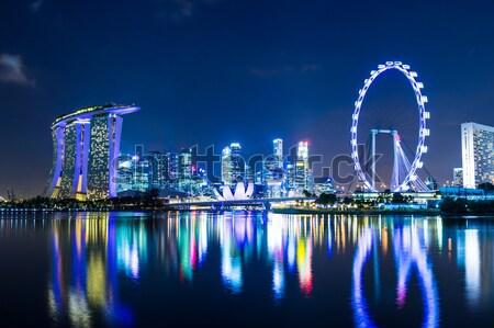 Stok fotoğraf: Singapur · ufuk · çizgisi · gece · gökyüzü · ofis · Asya