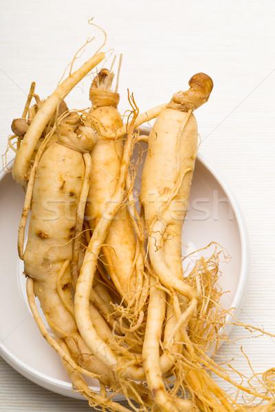 Fraîches ginseng alimentaire blanche Asie légumes Photo stock © leungchopan
