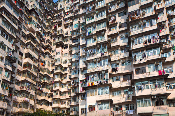 Hong Kong old residential building Stock photo © leungchopan